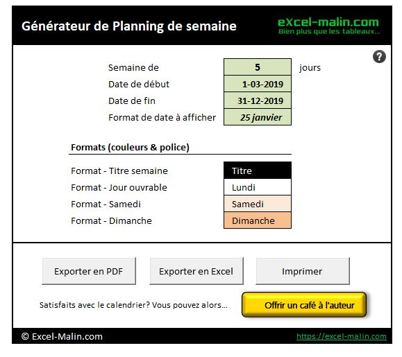 Semainier Planning Excel Modifiable Et Gratuit Excel