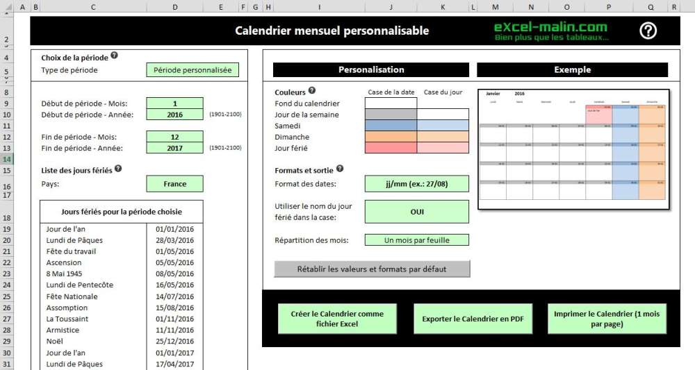 Printable monthly calendar template for Excel | Excel-Malin com