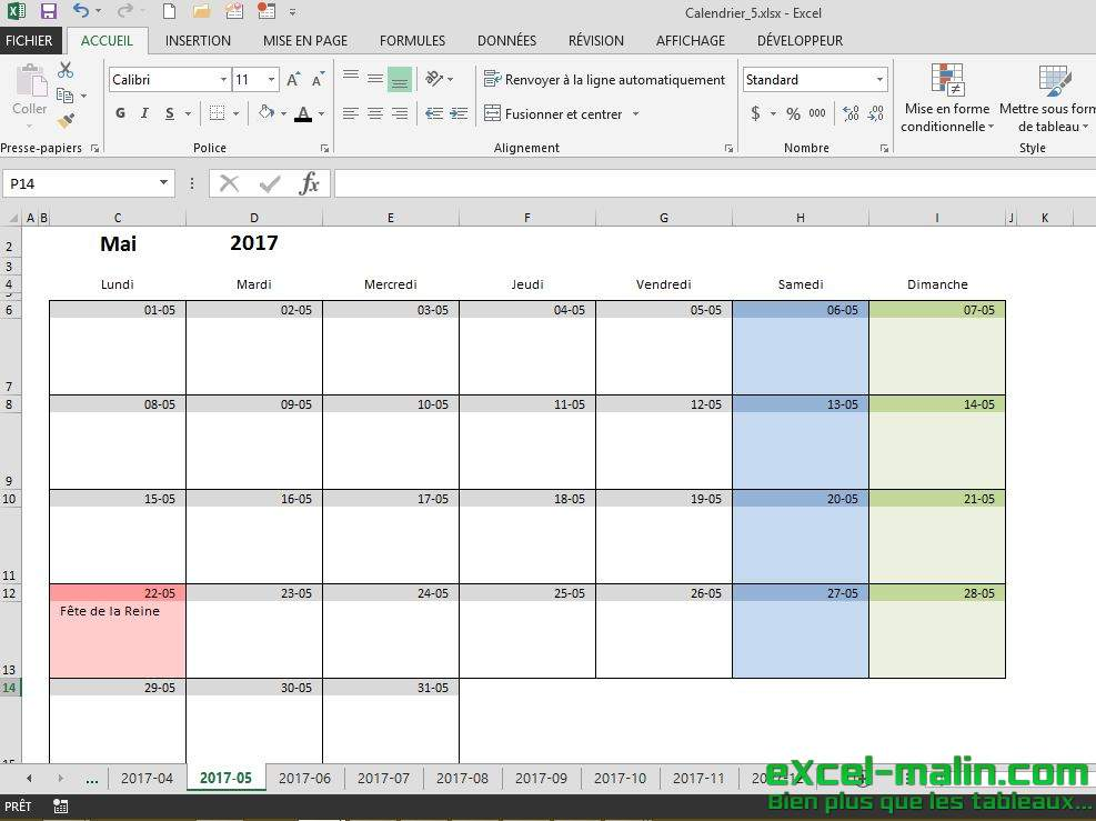 calendrier mensuel excel modifiable et gratuit excel. Black Bedroom Furniture Sets. Home Design Ideas
