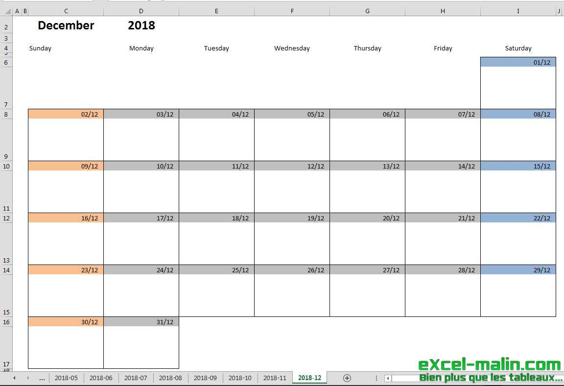 Printable monthly calendar template for Excel | Excel ...