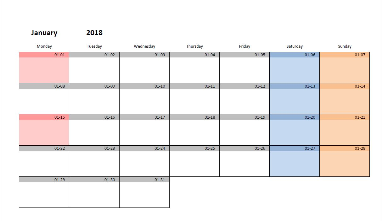 picture regarding Printable Monthly Calendars referred to as Printable every month calendar template for Excel