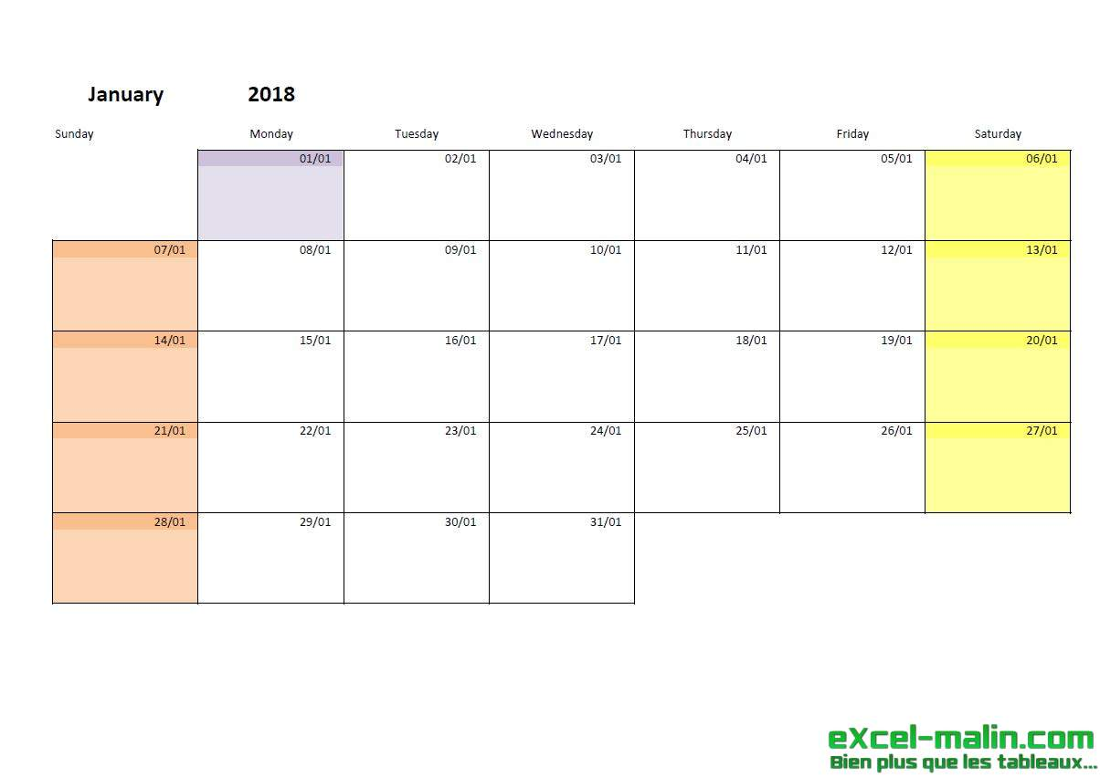 Calendar Monthly Planner : Printable monthly calendar template for excel