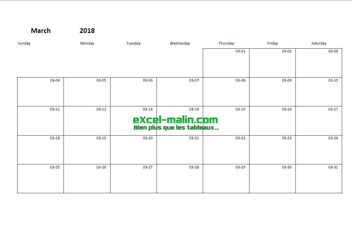 Printable Monthly Calendar Template For Excel Excel Malin Com
