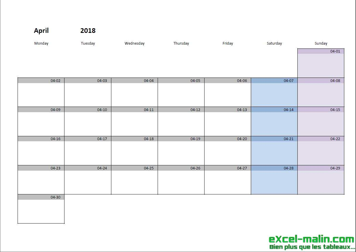 printable monthly calendar template for excel excel. Black Bedroom Furniture Sets. Home Design Ideas