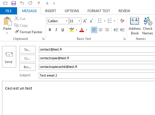 Test code Outlook
