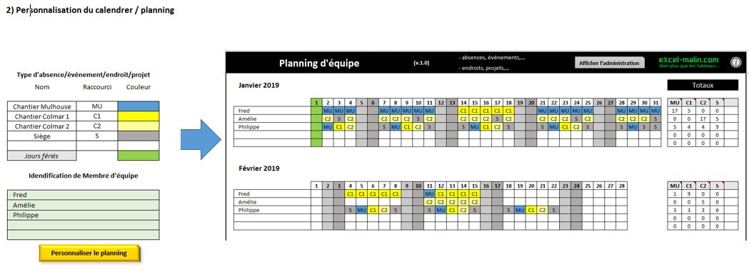 Planning D Equipe Excel Personnalisable Conges Projets