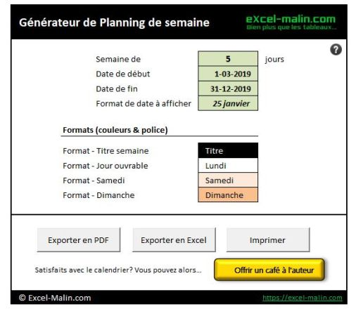 Semainier Planning Excel Modifiable Et Gratuit Excel Malin Com